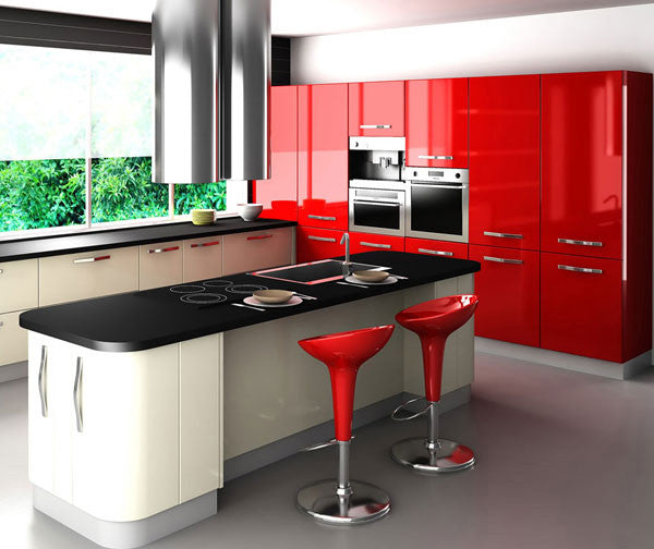 Red and White Kitchen Design