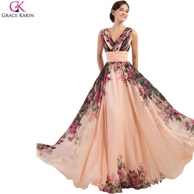 64bdd59e9dc97 Robe De Soiree Long Evening Dresses Grace Karin Abendkleider 2017 Flower  Print Pattern Elegant Gowns Women