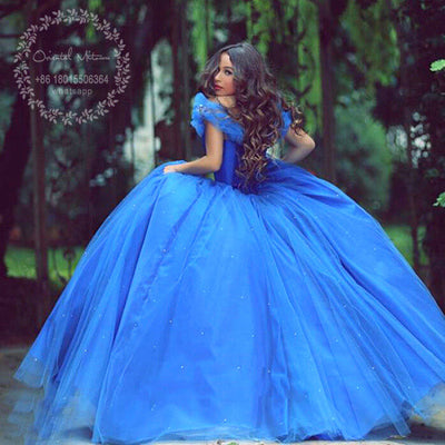 b9b9e08a296 Royal Blue Ball Gown Cinderella Flower Girl Dresses For Weddings Princess  Girls Pageant Dress Party Gowns