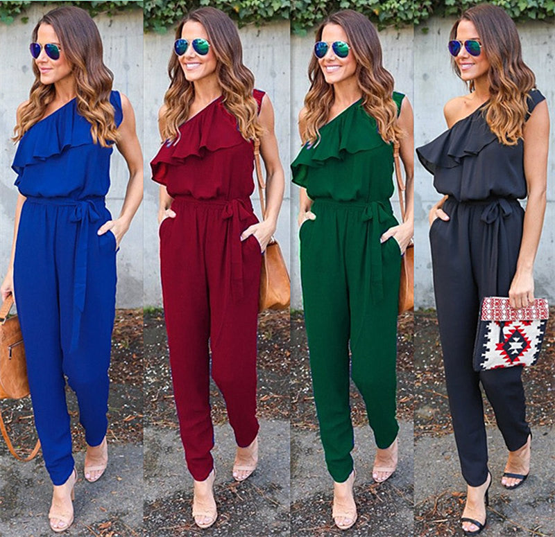 766bbee0718 Ruffles Chiffon Jumpsuits Plus Size Overalls Summer Women Sexy Casual One  Shoulder Long Playsuits Rompers Womens