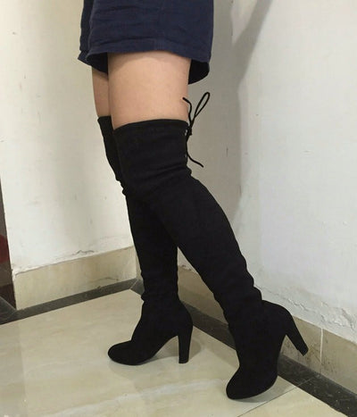 007c00de3ac Rumbidzo Women Stretch Suede Slim Thigh High Boots Sexy Fashion Over the Knee  Boots High Heels