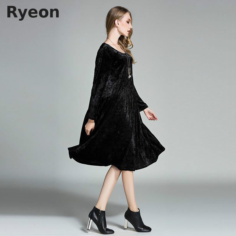 Ryeon Big Size Spring Winter Velvet Women Dresses Vintage A-line Solid Full  Sleeve Pockets cf6bc9e0fc2c