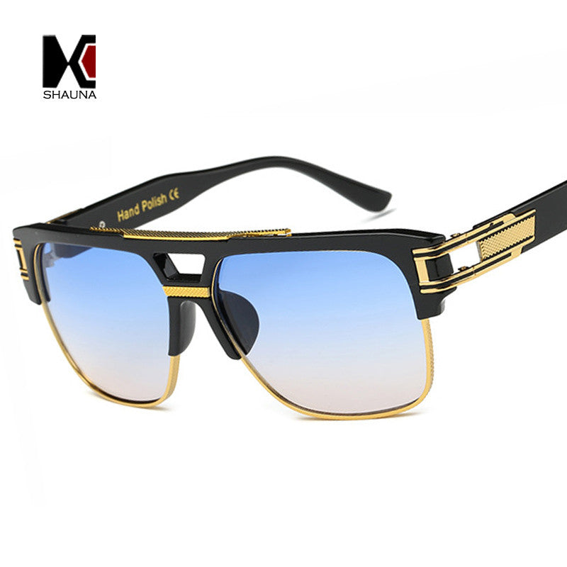 SHAUNA Fashion Men Luxury Square Sunglasses Vintage Women Oversize Semi-rimless Golden Double Bridges Sun Glasses UV400