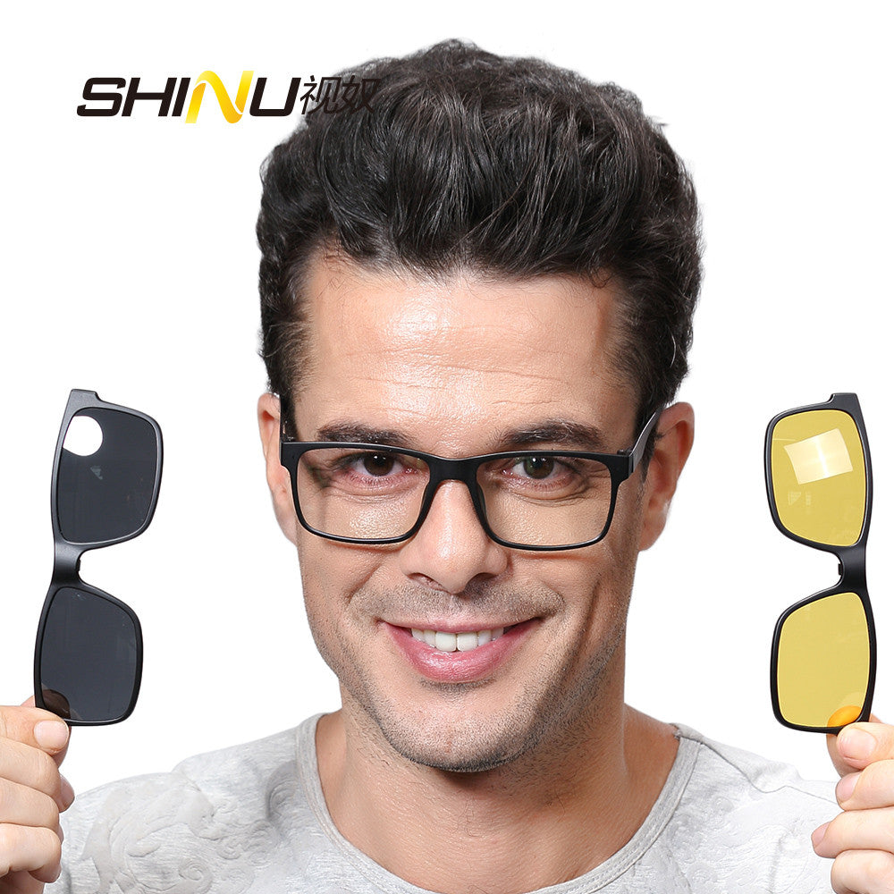 628e42fd93c SHINU Magnetic Polarized Clip on Sunglasses with Optical Frame Prescription  Myopia Len Night Vision Glasses Driving
