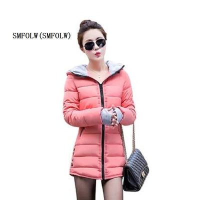 8277098d0 SMFOLW New Womens Celebrity Winter Coat Women Down Jacket Women Plus Size  Hooded Parkas Coats Cotton Quilted Padded Slim Jackets