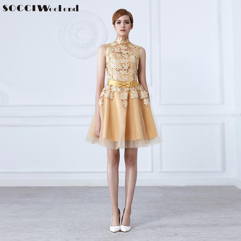 ... wedding party gowns. SOCCI Fashion short Gold Evening dress High neck  Lace flower bow Sashes sweet mother of bide 0c933e51caff