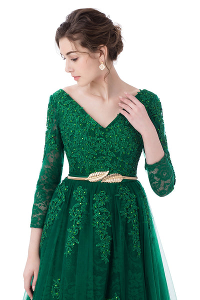 SSYFashion 2017 New Luxury Green Lace Evening Dress The Bride Banquet A-line  Long Sleeved d7965b5726aa