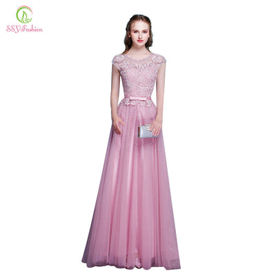 SSYFashion New Arrival Pink Lace Beading Long Evening Dress The Bride  Banquet Elegant Party Gown Formal d95c5a8df