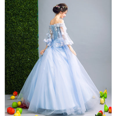 44e64c5036 SSYFashion New Romantic Blue Flower Fairy Evening Dress Bride Banquet Lace  with Beading Butterfly Sleeves Long Prom Party Gowns