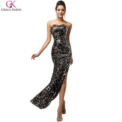 660b67f3a49 Sexy Black Evening Dress Grace Karin Glitter High Slits Gold Sequin Formal  Gowns Robe De Soiree