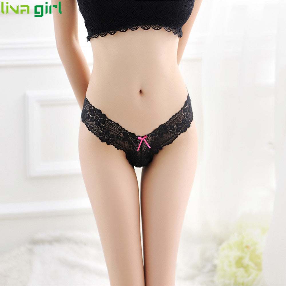 95dfd75a3291 Sexy Lingerie Lace Thong Women Erotic Lady Low Waist V-String Briefs G- String