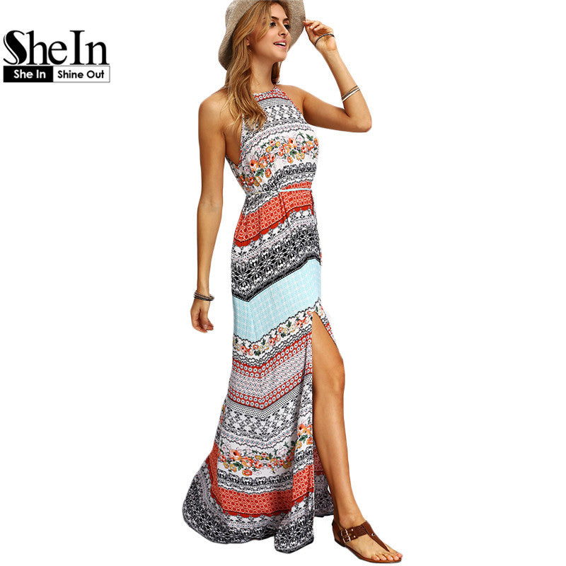 5606559661 SheIn Ladies Sleeveless Dresses Woman Summer Boho Dress Beach Casual  Multicolor Vintage Print A Line Split