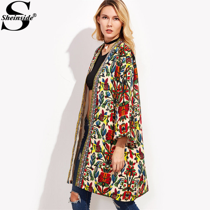 3be41bbc33 Sheinside European Trench Coat Women Basic Coats Colorful Open Front  Outerwear With Tribal Print Tape Detail