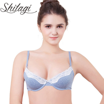 adaeffcc5a454 Shitagi 2017 Intimates Low Plunge Sexy Bra BC Cup Women Push Up Bra Sweet  Gray Bule
