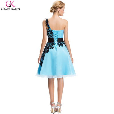 Short Cheap Bridesmaid Dresses Under  50 Grace Karin One Shoulder White  Blue Pink Black Lace Knee 387763dc49ae