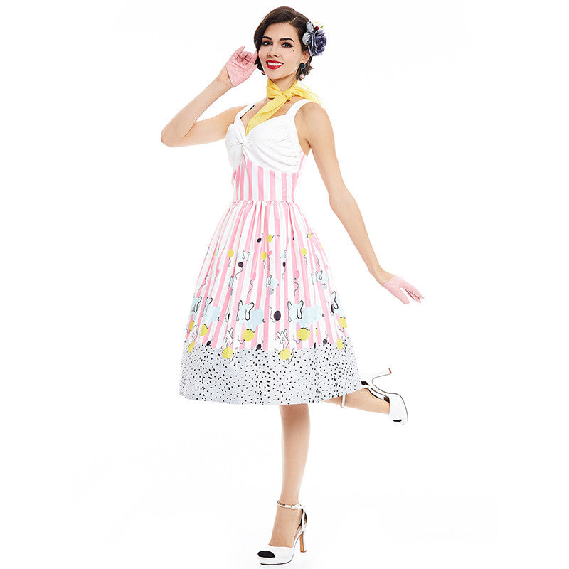 40fcb1e643bd Sisjuly women vintage dress summer pink sleeveless stripe party dress 1950s  cute playful style A line