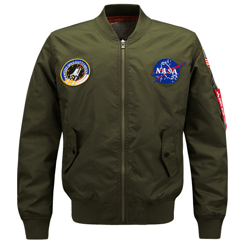 f9fc8f2aab7 Spring Mens MA-1 Pilot Bomber Jacket Male Nylon Flying Tigers NASA  Embroidery Army Green