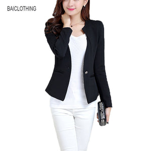 Spring tops One button female Blazer jackets short women Korean version tide long sleeves Slim body office jacket Blazers Coat