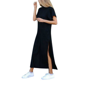 Summer Dress Side High Slit Long T shirt Women Sex Dress Short Sleeves Black New Fashion Clothing Vestidos S3