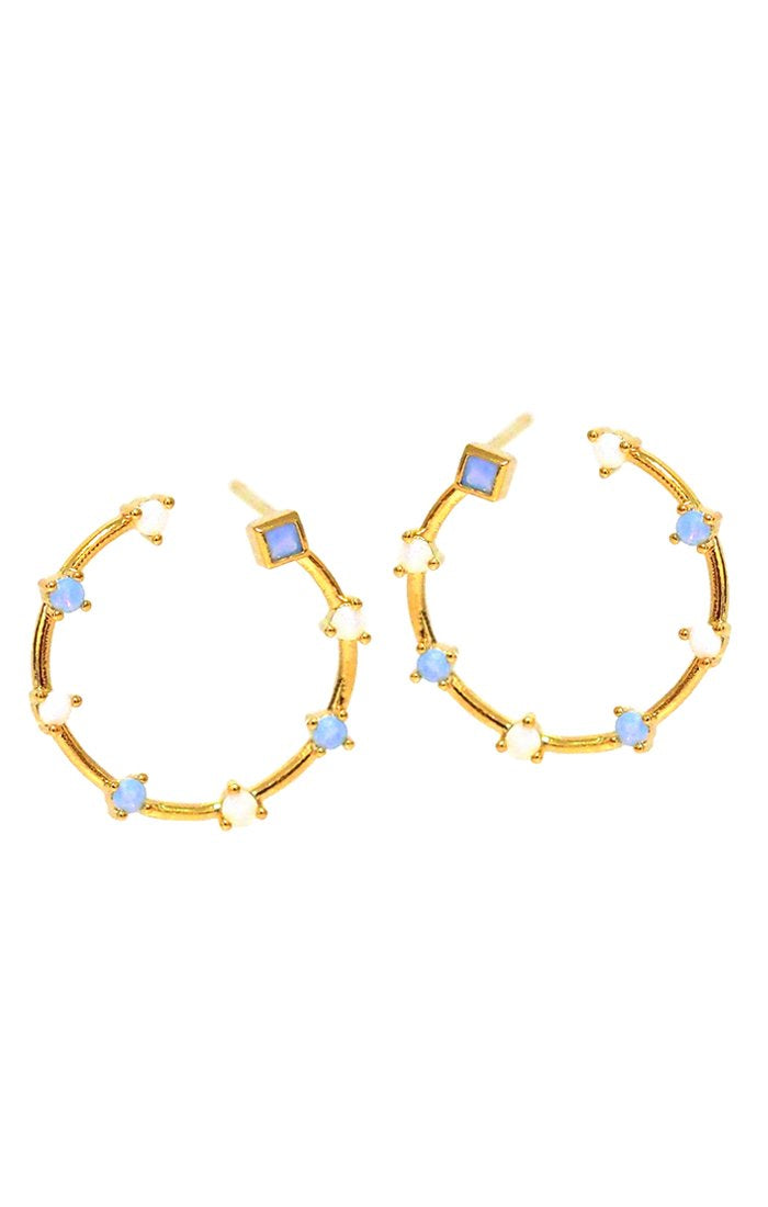 Circle earrings with opal stone