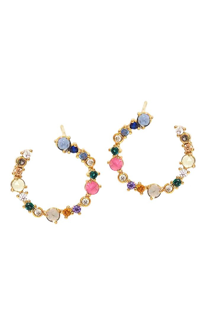 Circle earring with colored stones