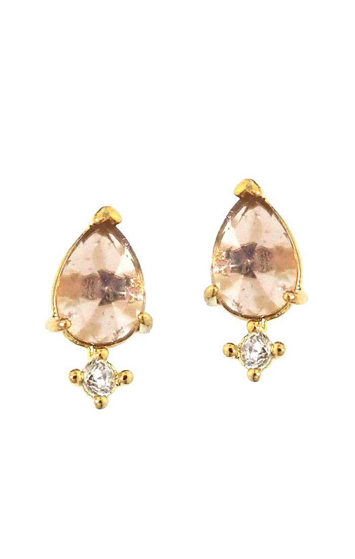 Oval Rose Quartz earrings with Cz drop