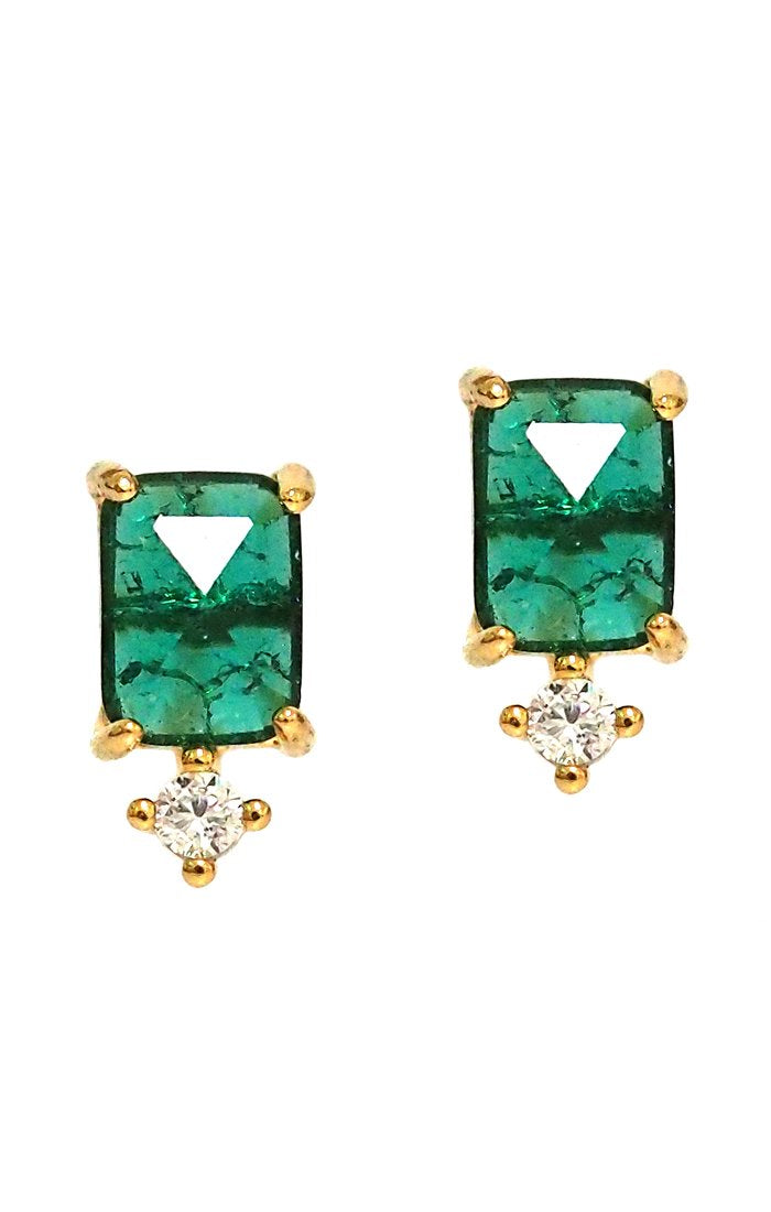 Emerald stone earrings with cz drop