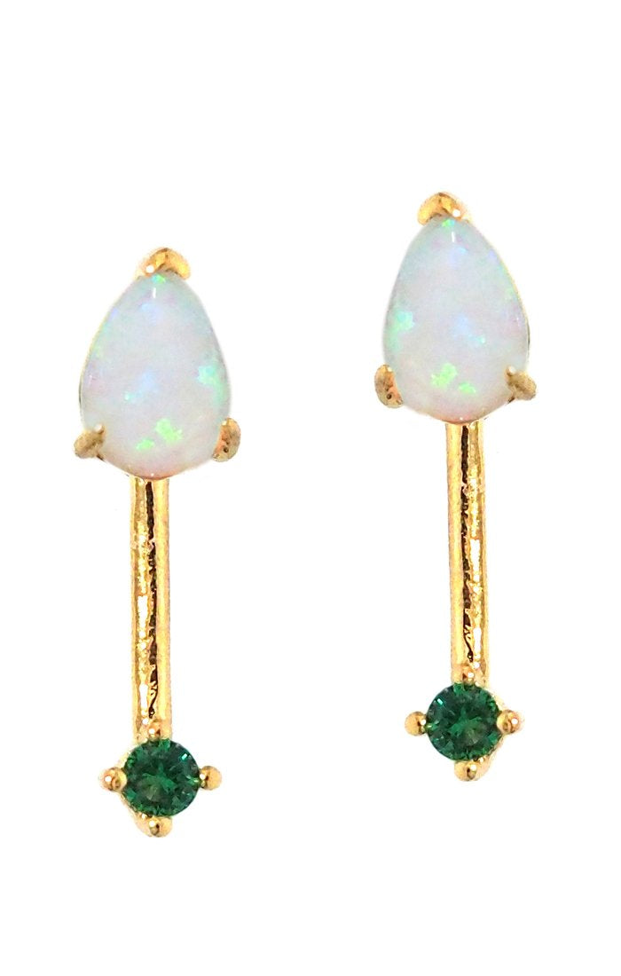 Opal stone stick earrings with emerald stone accents