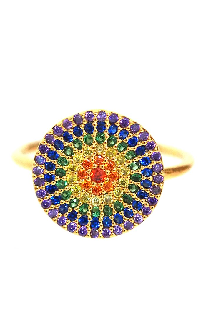 Large Rainbow Disc Ring with Pave CZ Stones