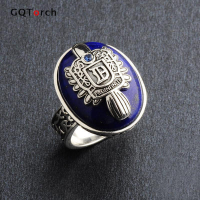 The Vampire Diaries Rings Real 925 Sterling Silver Damon Salvatore Ring Men's With Lapis Lazuli Gem Natural Stone Fine Jewelry