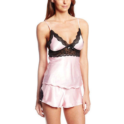 ce3f96984a2 Top Sale Ladies Sexy Silk Satin Cami and Shorts Set Lace Nightgowns Comfy  Pajamas Pretty Nighties