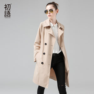 Toyouth Trench Coat 2017 Spring Women Coats Patchwork Double-Breasted Elegant Slim Overcoats