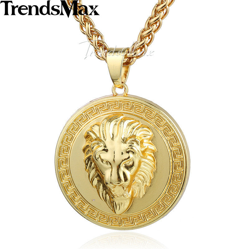 Trendsmax gold color lion head chicago carved round necklace pendant trendsmax gold color lion head chicago carved round necklace pendant mens womens fashion jewelry gp71 aloadofball Gallery