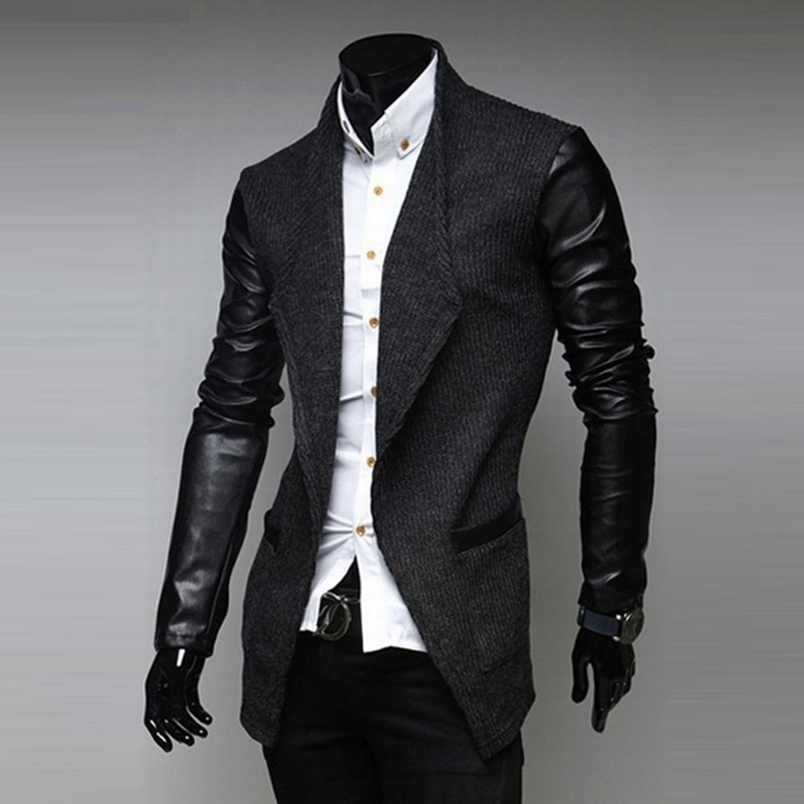 Fashion Men Jacket Formal Long Sleeve Slim Faux Leather Wedding Coat Outwear