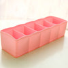 New 5 Cell Plastic Underwear Bras Sock Ties Organizer Storage Box Drawer Closet