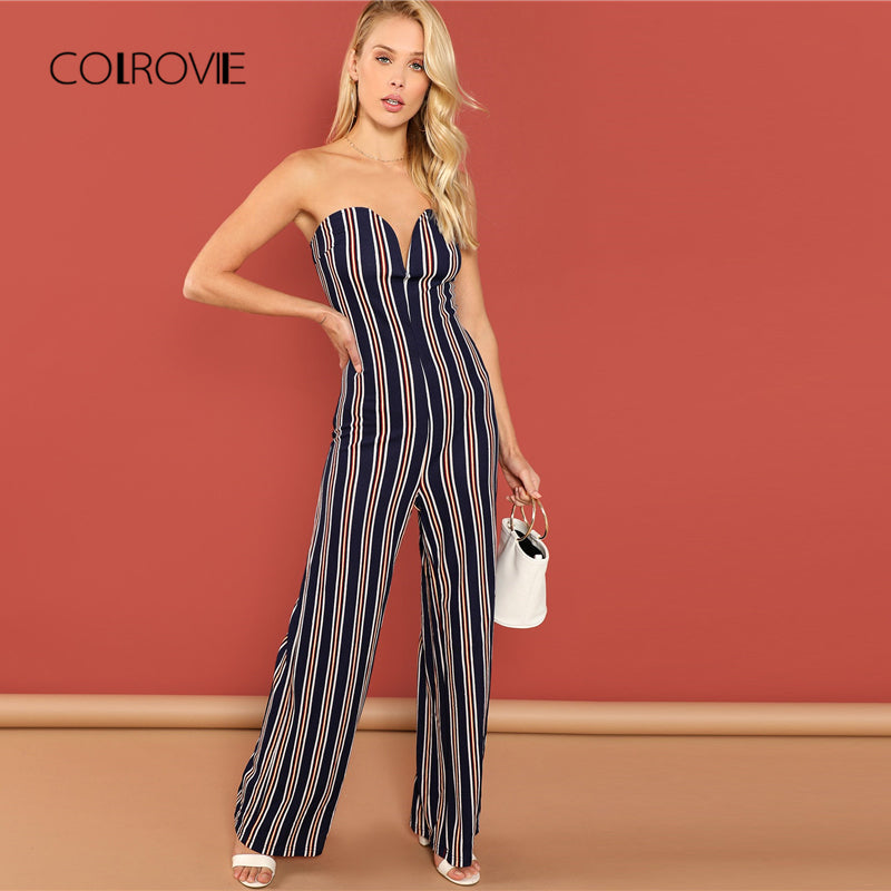 e6fc2e0a862 COLROVIE Striped Off the Shoulder Wide Leg Tube Elegant Jumpsuits For Women  2018 Autumn Sleeveless Skinny