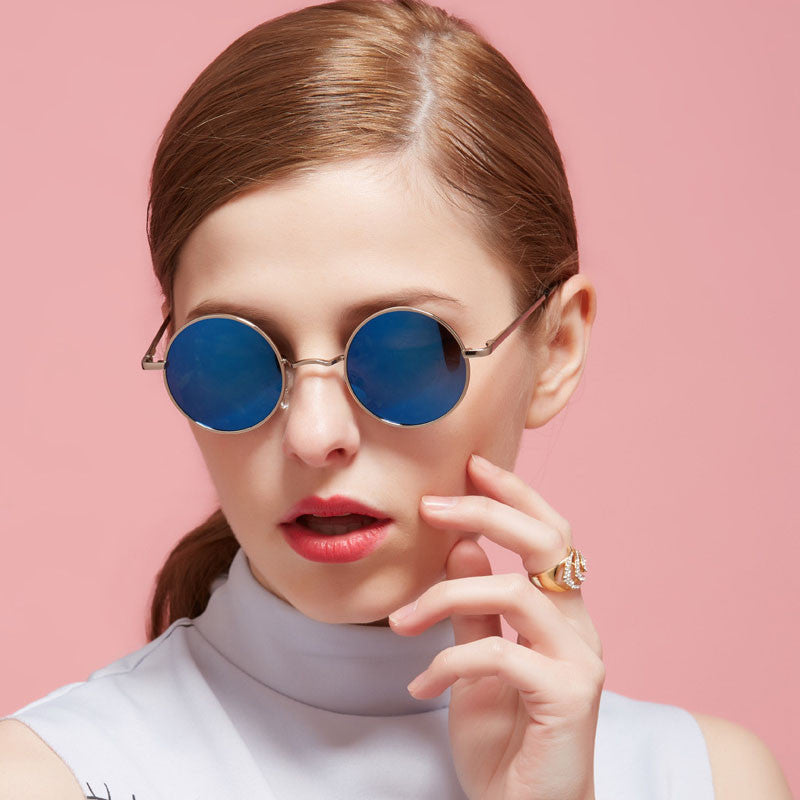 VEGA Polarized 80s 90s Retro Round Glasses Men Women Metal Round Sunglasses Vintage Small Hippie Glasses Circle Lenses 8024
