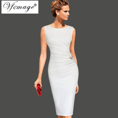 6a238bd9 Vfemage Womens Celebrity Elegant Vintage Ruched Pinup Wear To Work Office Business  Casual Party Fitted Bodycon