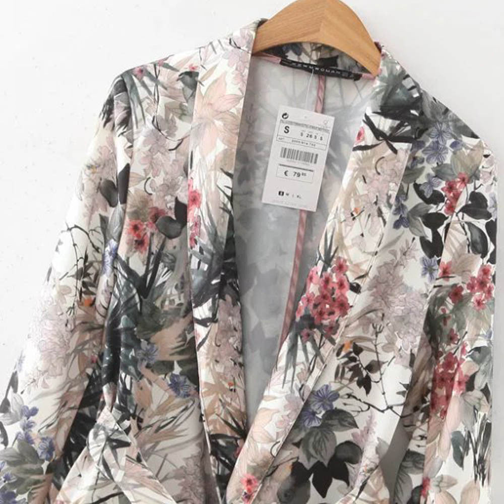 Women's Clothing Suits & Sets Ansfx Vintage Ethnic Floral Leaf Print Notched Collar Blazers Long Sleeve Outwear Fashion Women Tops Loose Suit Ol Work Coat Latest Fashion