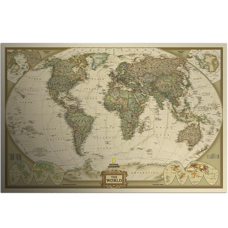 Large vintage world map kraft paper paint wall sticker for Vintage home interior products