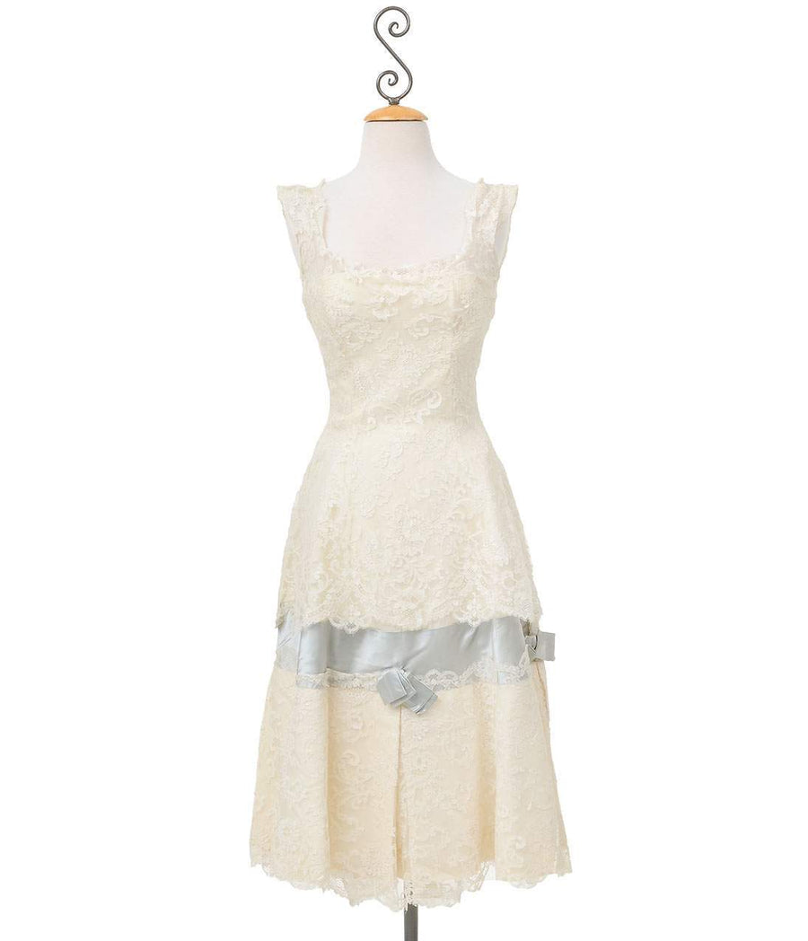 Vintage Ivory Chantilly Lace Designer Wedding Dress