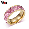 Vnox Vintage Wedding Rings for Women Stainless Steel 3 Row Crystal Cubic Zirconia Girl Jewelry