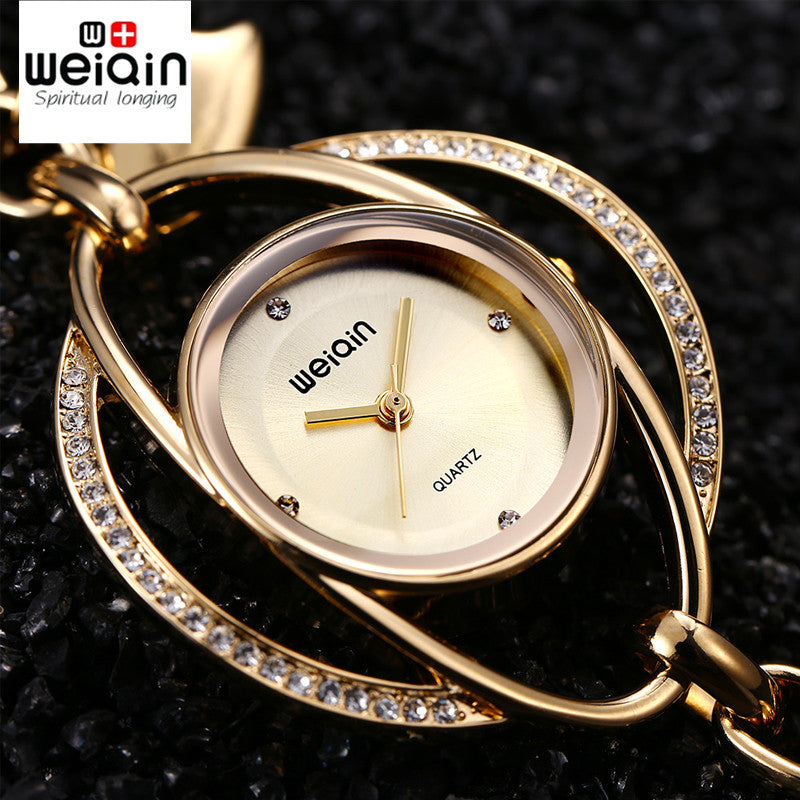 e897d8bf6e9 WEIQIN Lucky Petals Bracelet Watches Women Gold Crystal Rhinestone Fashion  Watch Ladies Casual Relogio Feminino orologio