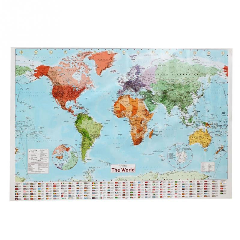 Waterproof big large map of the world poster with country flags 98 x waterproof big large map of the world poster with country flags 98 x 68cm gumiabroncs Images
