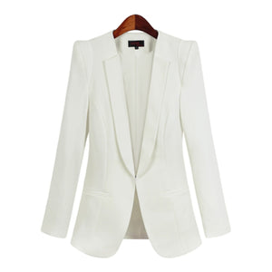 White Suit Women Slim Jacket Office 2017 Elegant Blazer Plus Size Formal Female Business Suit Blouson Ladies Blazers 50N0078