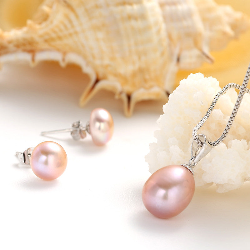 Wholesale 100% 925 sterling silver earring and pendant necklace for women party bridal jewelry set high quality freshwater pearl