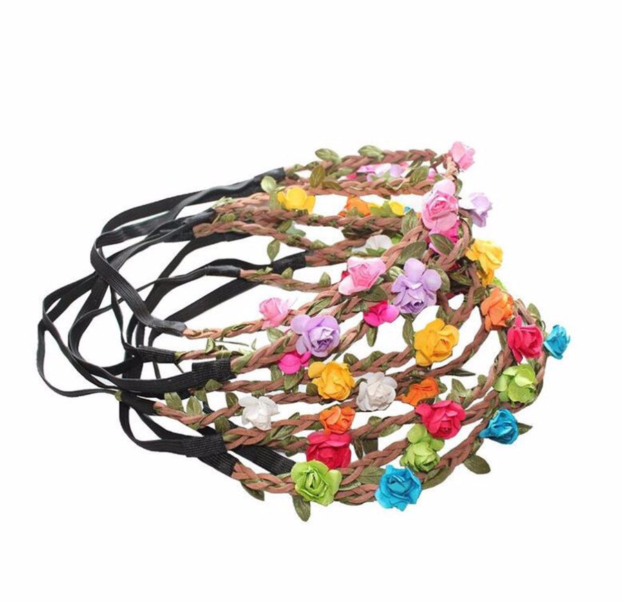 Wholesale Bohemian Festival Party Wedding Beach Bride Headdress Floral Rose Paper Flower Headbands Garland Gilrs Headband