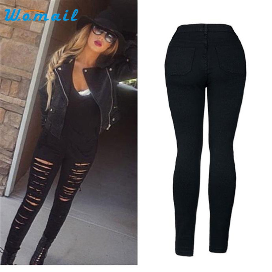 a9c17dd44125 Womail The most Women Denim Skinny Ripped Pant High Waist Stretch Jeans  Slim Pencil Trousers