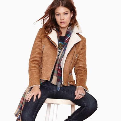 Women 2016 Spring new fashion slim waist thick suede leather motorcycle  short jackets casual jacket SC2182 9c327cb7b4ec