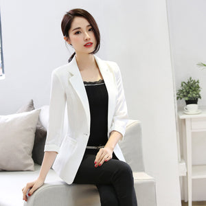 Women Blazers And Jackets 2017 Spring Autumn Cardigans Slim Fit Coats 3/4 Sleeve Suit Jacket Plus Size 6XL Blaser Femenino Y273